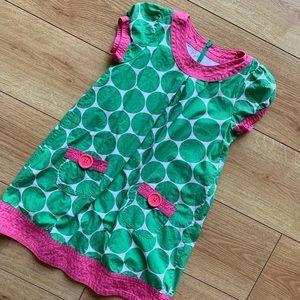 Mini Boden Pink & Green Polka Dot Dress Size 7-8Y